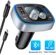 [2020 Upgraded Version] Ainope Fm Transmitter Bluetooth For Car, 36w/6a Pdandqc3.0