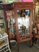 Antique Edwardian China Cabinet Circa 1911 Curved Glass Inlaid Wood