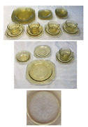 Vintage Antique Federal Glass Dinnerware Madrid Yellow Amber 20-pc Set 1932-1939