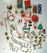 Christmas Jewelry Lot Of Vintage And Now Brooches,necklace,bracelet, Earrings