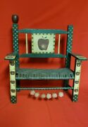 Ohio Wholesale Inc Apple Wooden Bench Vtg. Wicker Weaved Seat Browngreen And Red