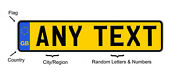 European British Vanity License Plate Tag Any Text Or Number Custom Yellow Gb Uk