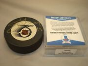 Steve Yzerman Signed Red Wings 75th Official Game Hockey Puck Beckett Bas Coa 1a