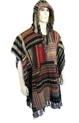 Nepalese Men Women Long Cotton Woven Hooded Poncho Cape Ethnic Boho Festival