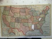 1920s Vintage Madmar Puzzle Map Of United States, Selling Missing Pieces