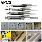 4pc Woodworking Square Hole Drill Bits Set Wood Saw Mortising Chisel Cutter Tool