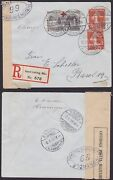 Alsace German France 1918 Red Cross Stamp Used On Wwi Censored Mail........a6436