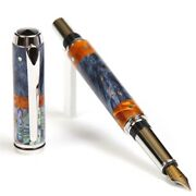 Baron Fountain Pen - Blue And Yellow Box Elder With Paua Abalone Shell Inlays