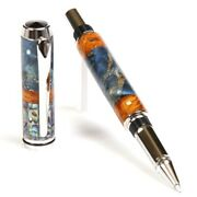 Baron Rollerball Pen - Blue And Yellow Box Elder With Paula Abalone Inlays
