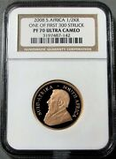 2008 Gold South Africa 1/2 Krugerrand Coin Ngc Proof 70 Ultra Cameo