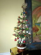 Antique Christmas Goose Feather Tree ,tinsel ,glass Ornaments, Wax Candles -28