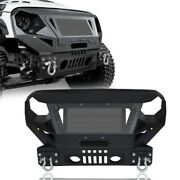 Angry Eye Front Bumper W/ Grill Guard And For Winch Plate Jeep Wrangler Jk 07-18