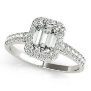 2.0 Ct Emerald Moissanite Forever One And Diamond Halo Engagement Ring