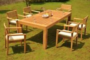 7-piece Outdoor Teak Dining Set 86 Rectangle Table 6 Stacking Arm Chairs Mont