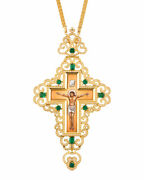 Orthodox Priest Pectoral Cross 925 Sterling Silver Goldplated Enamel Icon