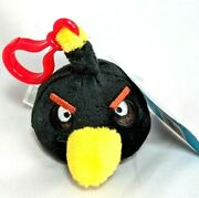 New Angry Birds Black Bird Clip On Plush Keychain Key Chain Backpack Clip Toy