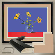 40wx32h Black-eyed Susan By Roberto Azank - Double Matte Glass And Frame