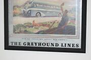 Antique 1930and039s Greyhound Lines Bus Poster Framed Paper Gas Oil Advertising Sign