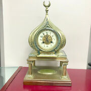 F247 Antique 1800and039s Miniature Stand Clock Made In France Eastern Style