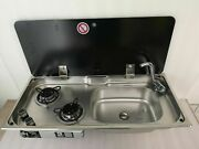 Boat Rv 2 Burner Gas Sink Stove With Glass Top 30.514.45.9/4.7 Gr-904rs