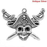 Lovely Charm Pendants Skull With Cross Sword Antique Silver Can Hold Ss12
