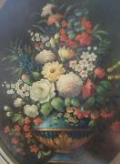 1891 Dated Signed Flowers Vase Oval Frame Oil Canvas Italian Art Painting Estate