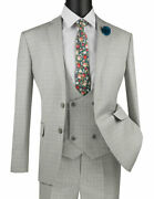 Mens Suit Single Breasted 2 Buttons 3 Piece Slim Fit Glen Plaid Ice Color Sv2w-5