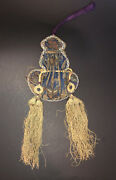 Antique Chinese Embroidered Silk Gourd Shaped Pouch
