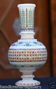 10 Antique White Marble Flower Vase Micro Mosaic Inlay Marvelous Gift Art H1959