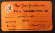 Mickey Mantle 1951 Ticket Pass/debut/1st Hit/hr Ny Yankee/reynolds No-hitter Vg