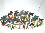 Antique Plastic Cowboys And Indians Army Mixed Figure Playset Lot Marx