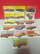 """Lot Of 16 Vintage World On Wheels Trading Cards """"cars"""" Magazine 1950's Topps"""