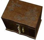 Jewelry Box With Lock Wooden Princess Earrings Ring Necklace Bracelet Organizers
