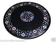 24 Black Marble Side Corner Round Table Top Rare Floral Inlay Art Outdoor Decor