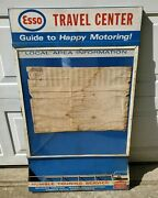 Vtg Esso Travel Center Metal Guide To Happy Motoring Local Area Info Map Holder