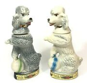 2 Vintage 1970 Jim Beam Penny And Penny The Poodle Decanters Empty