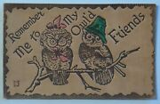 Vintage Leather Postcard Remember Me To My Owland039d Friends Unposted 6324