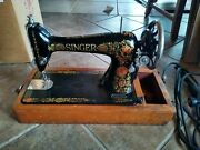 Vintage Singer Portable Sewing Machine With Case. 1920's. Fair Condition.