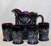 Fenton Water Set Amethyst Carnival Glass Pitcher And 4 Tumblers.