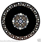 3and039x3and039 Black Dining Table Top Marquetry Inlaid Patio Furniture Mosaic Decors Arts