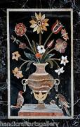 4and039x2and039 Black Marble Dining Table Top Marquetry Inlay Floral Art Home Garden Decor