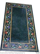 4and039x2and039 Green Marble Dining Top Table Precious Mosaic Floral Inlay Art Home Decors
