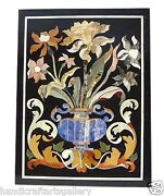 4and039x2and039 Black Marble Dining Top Table Marquetry Inlay Floral Handmade Home Decors