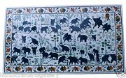 2.5and039x5and039 White Marble Dining Table Lapis Elephant Ancient Inlay Stone Art Decors