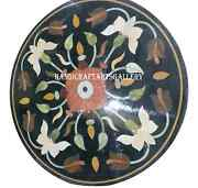 2.5and039 Black Marble Round Table Top Inlay Marquetry Collectible Floral Decor H937a