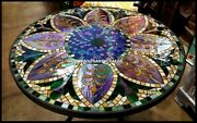 Black Marble Top Living Home Dining Table Multi Stone Inlay Arts Furniture H3811