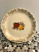 Rare Antique Very Early Homer Laughlin Red Yellow Roses Platter 1907 Gold Trim