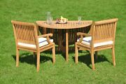 5-piece Outdoor Teak Dining Set 48 Butterfly Round Table 4 Arm Chairs Sack