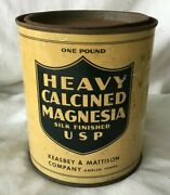 Vintage Drug Store Pharmacy Medicine Tin Heavy Calcined Magnesia Keasbey And