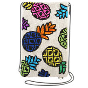 Mary Frances Beaded Crossbody Phone Bag Spiked White Pouch Pineapple New
